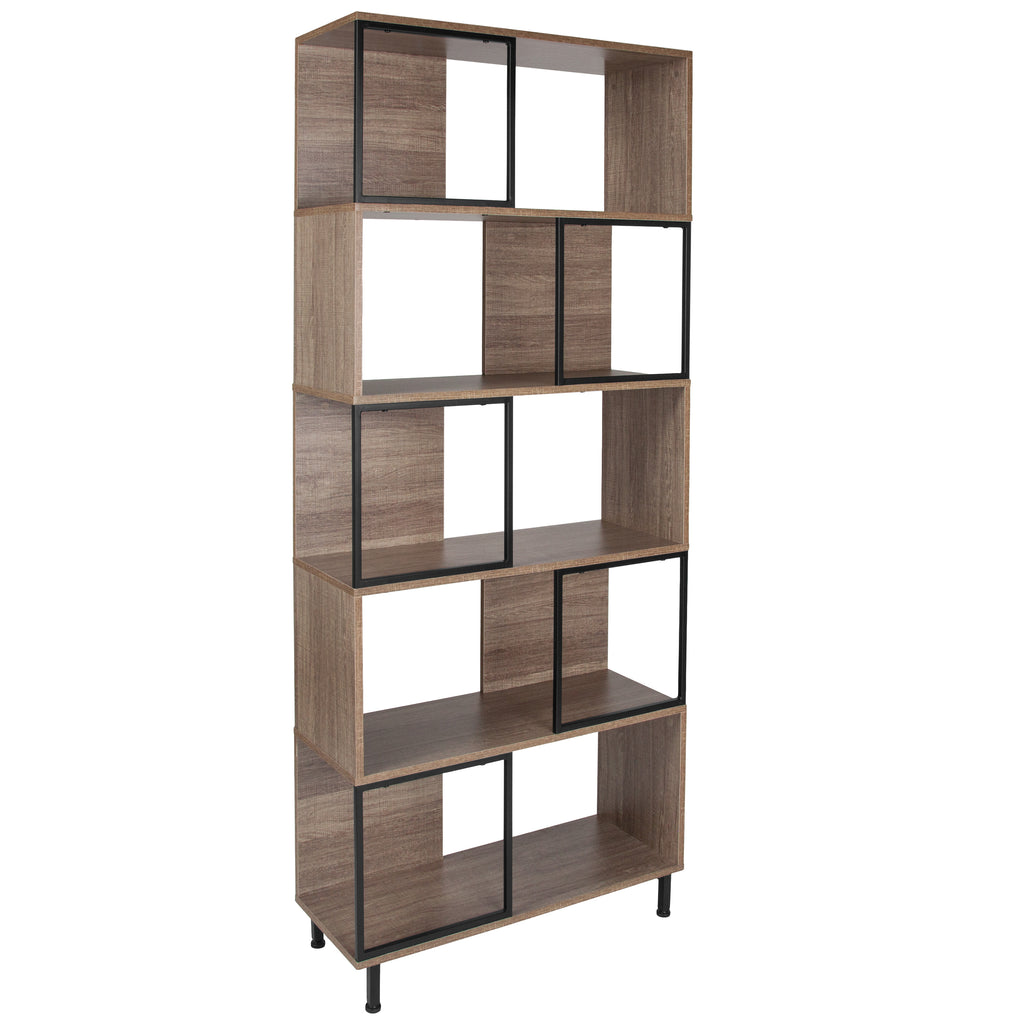 "Paterson Collection 29.75"""" x 72.25"""" Wood Grain Finish Bookshelf and Storage Cube"