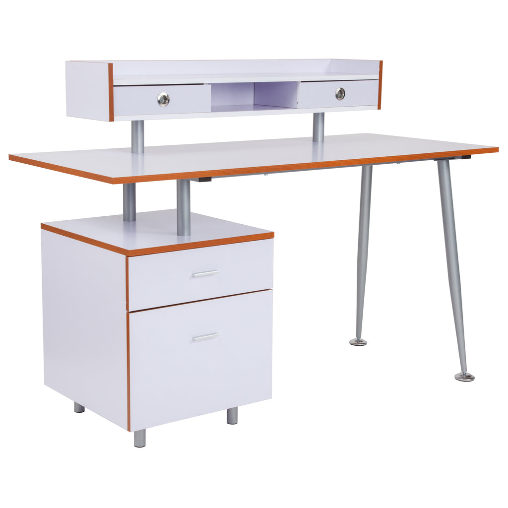 Piedmont Home and Office Desk with 2 Drawers and Top Storage Shelf