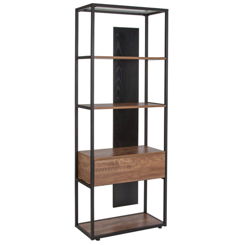 Cumberland Collection Bookshelf with Drawer and Shelves in Wood Grain Finish