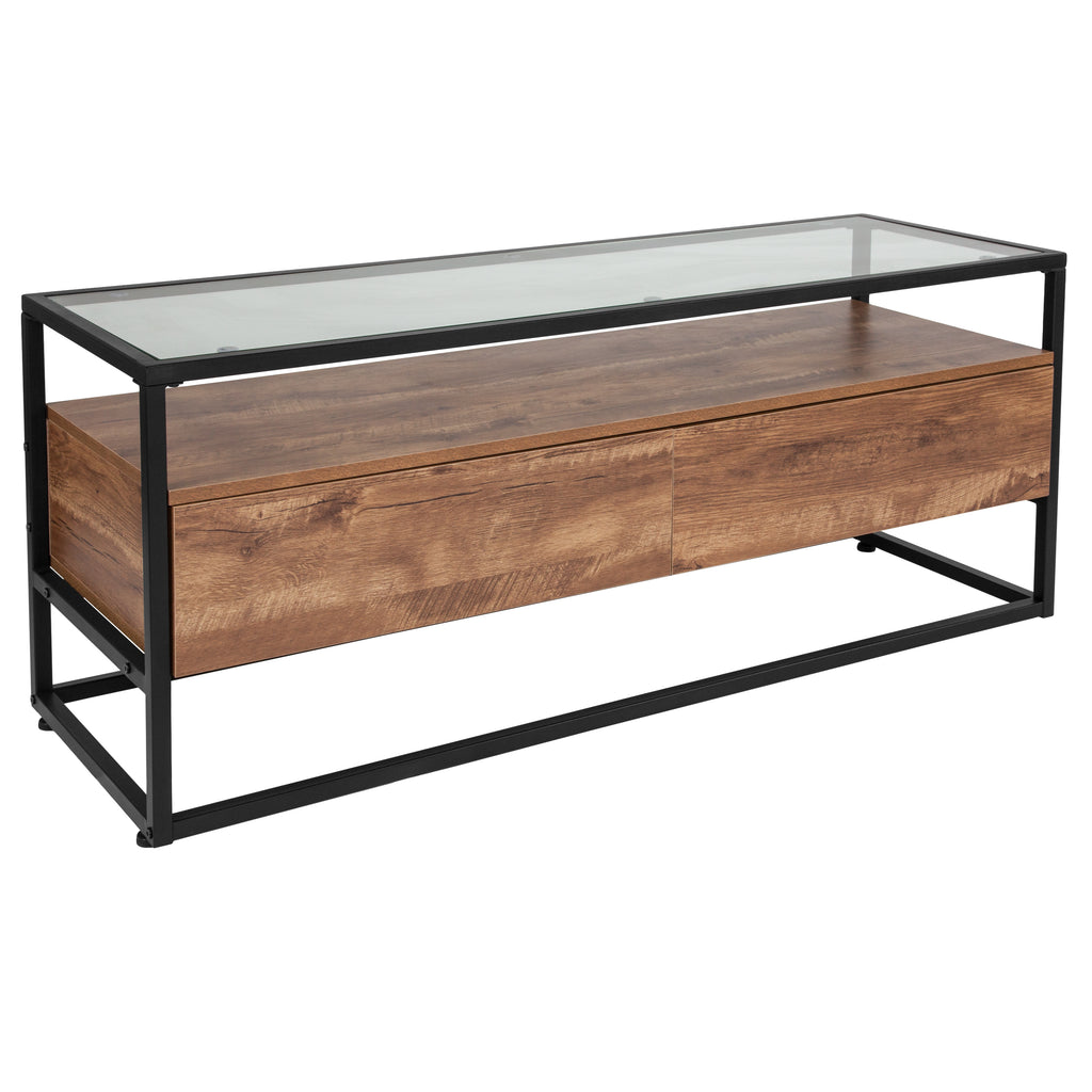 Cumberland Collection Glass Coffee Table with Two Drawers and Shelf in Wood Grain Finish