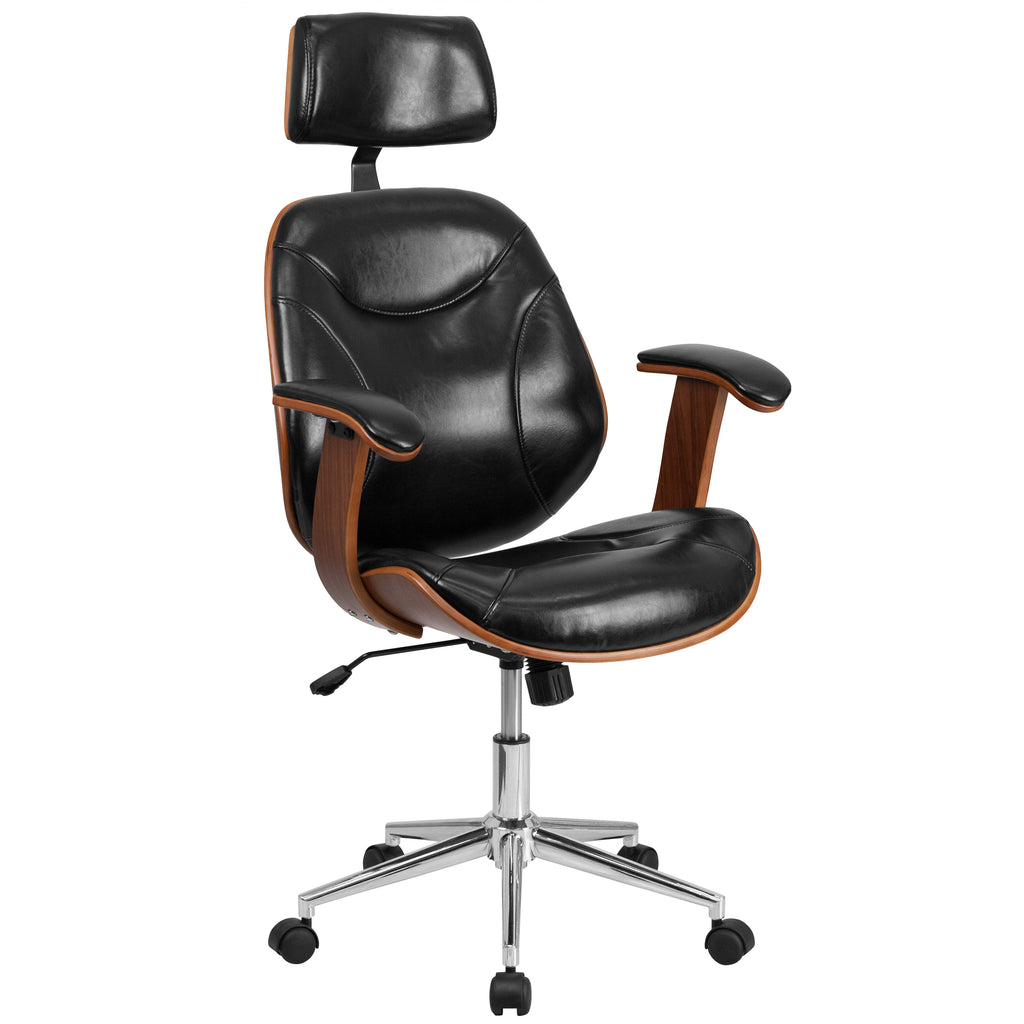High Back Leather Executive Wood Swivel Office Chair