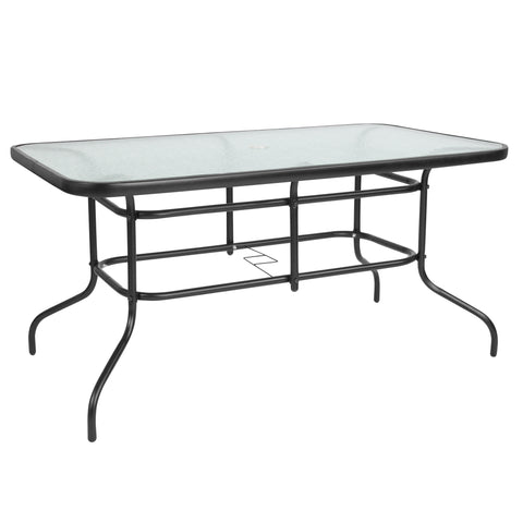 "31.5"""" x 55"""" Rectangular Tempered Glass Metal Table"