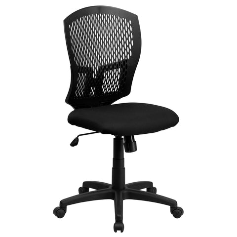 Mid-Back Designer Back Swivel Task Chair with Padded Fabric Seat