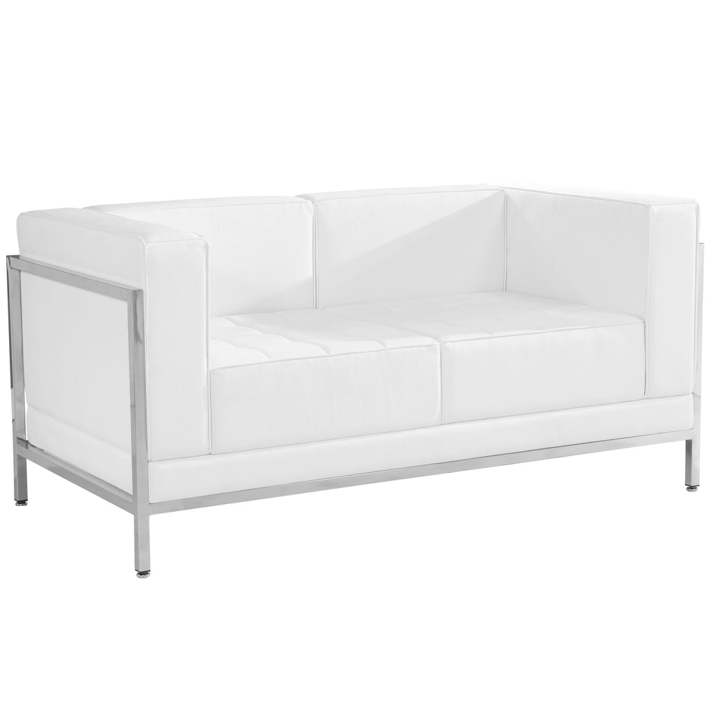 HERCULES Imagination Series Contemporary Leather Loveseat with Encasing Frame