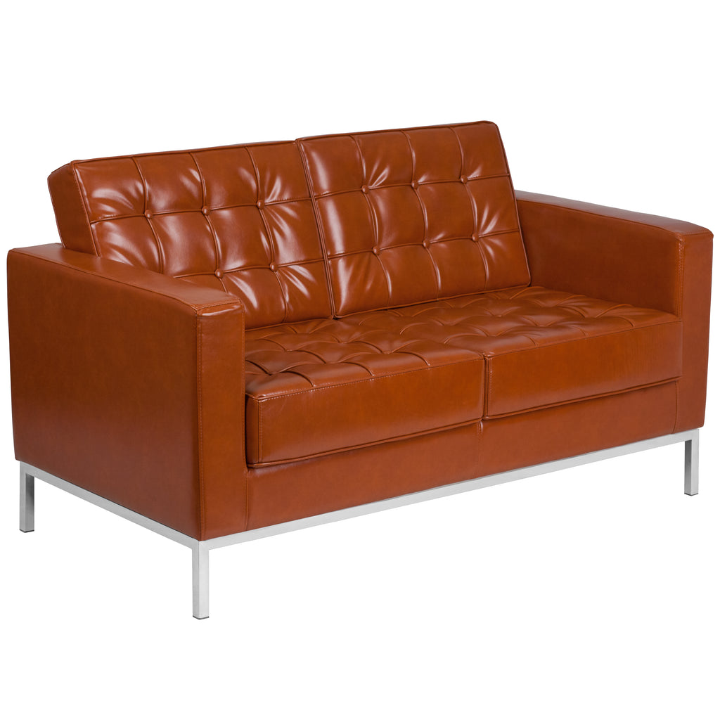 HERCULES Lacey Series Contemporary Leather Loveseat with Stainless Steel Frame