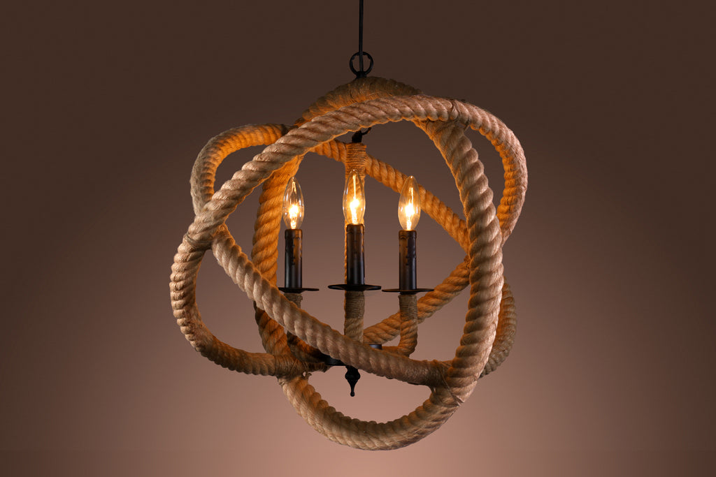 Warehouse of Tiffany's Rope Enclosed 3-light Chandelier