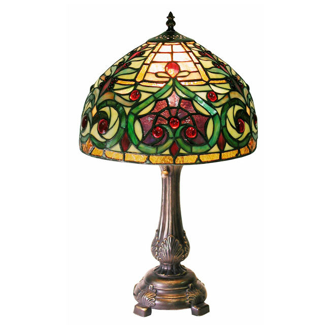 Tiffany-style Decorative Table Lamp: Tiffany-style Jeweled Petite Table Lamp