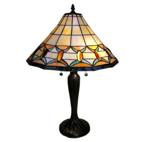 Tiffany-style Jeweled Table Lamp: Tiffany-style Round Mission Jeweled Table Lamp