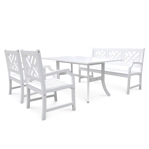 Bradley Rectangular and Curved Leg Table  Bench - Arm ChairOutdoor Wood Dining Set
