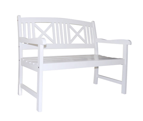 Bradley Outdoor Wood White Bench