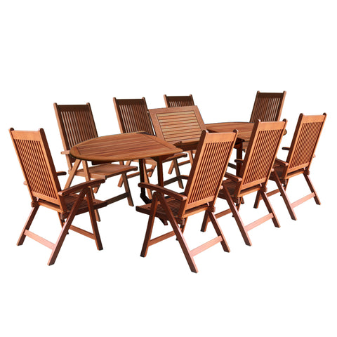 9-Piece Outdoor Wood Dining Set with Oval Extension Table