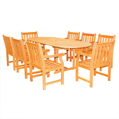 9-Piece English Garden Dining Set with Oval Extension Table Light Wood
