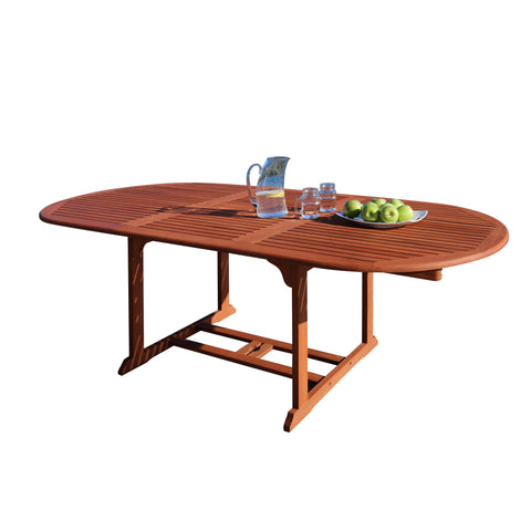 Outdoor Eucalyptus Wood Oval Extention Table with Foldable Butterfly