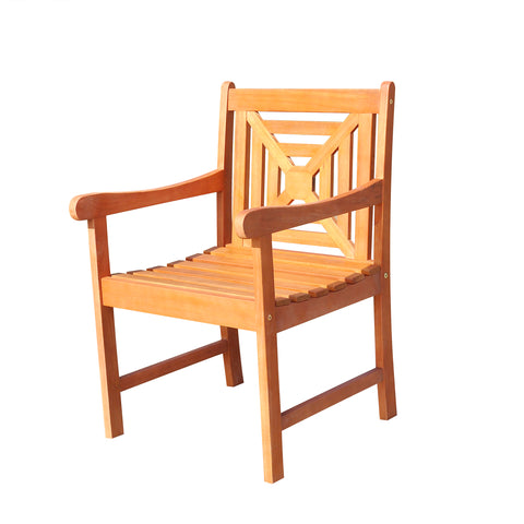 Malibu Eco-friendly Outdoor Hardwood  Garden Arm Chair Square Pattern