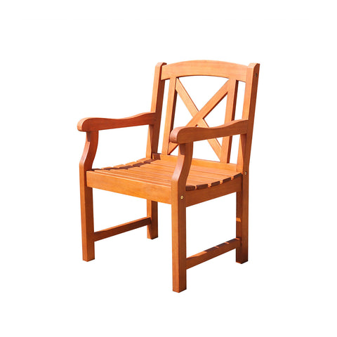 Malibu Eco-friendly Outdoor Hardwood Garden Arm Chair X Back
