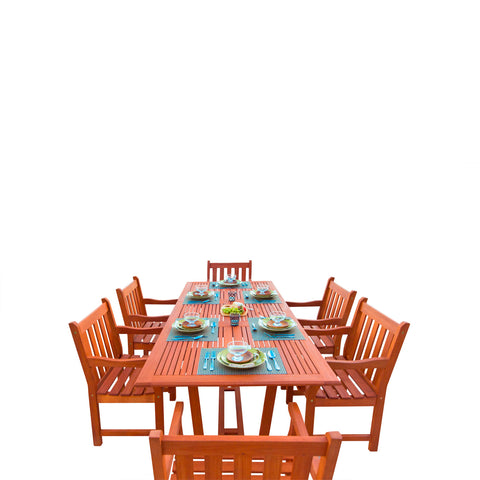 7-Piece English Garden Dining Set 1 with Rectangular Extension Table