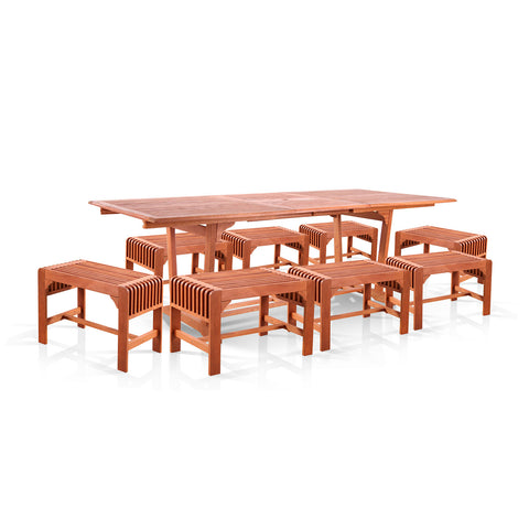 9-Piece Dining Set with Extension Table and Backless Benches