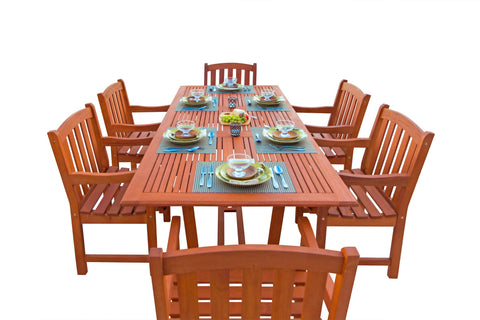 7-Piece English Garden Dining Set 2 with Rectangular Extension Table