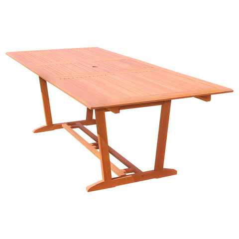 Outdoor Eucalyptus Wood Rectangular Extention Table with Foldable Butterfly