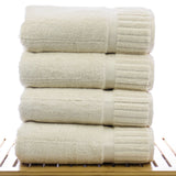 Luxury Hotel & Spa Towel 100% Genuine Turkish Cotton Bath Towels - Beige - Piano  - Set of 4