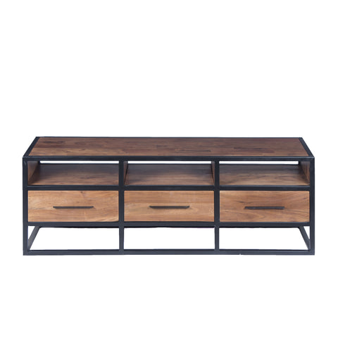 Spacious Acacia Wood TV Unit with Metal Frame, Walnut Brown and Black