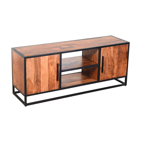 54 Inch Metal Frame TV Console with 2 Side Door Cabinets, Black and Brown