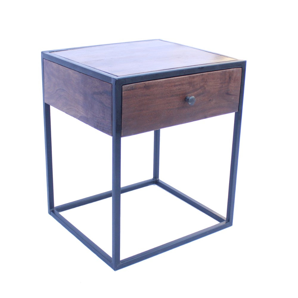 The Urban Port Wooden End Table/Night Stand With One Drawer, Brown & Black