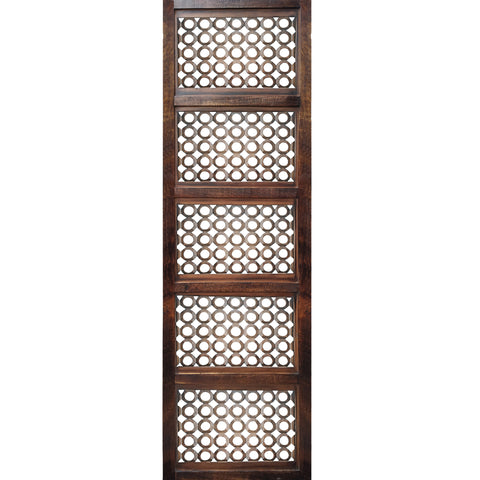 Decorative Mango Wood Wall Panel with See Through Circular Pattern, Brown