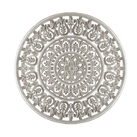 Round Shape Wooden Wall Panel with Ornate Carvings, Washed White