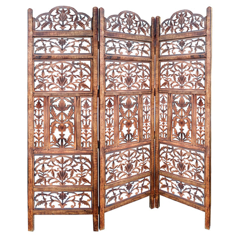 Handcrafted 3 Panel Mango Wood Screen with Cutout Filigree Carvings, Brown