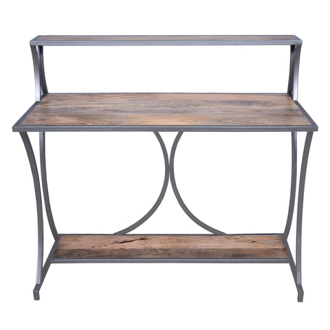 Designer Metal Framed Study Table with Open Mango Wood Shelves, Brown and Gray