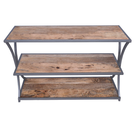 Metal Framed Three Tier Console Table with Mango Wood Shelves, Brown and Gray