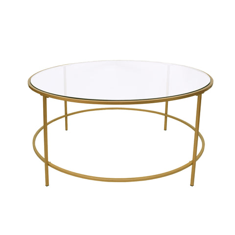 Contemporary Style Round Metal Framed Coffee Table with Glass Top, Gold and Clear