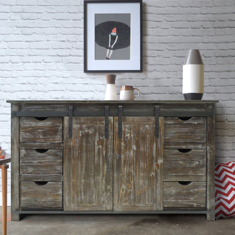 70 Inch Wooden Console with Barn Style Sliding Door Storage,Distressed Brown