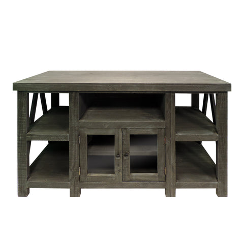 52 Inch Handmade Wooden TV Stand with 2 Glass Door Cabinet, Distressed Gray