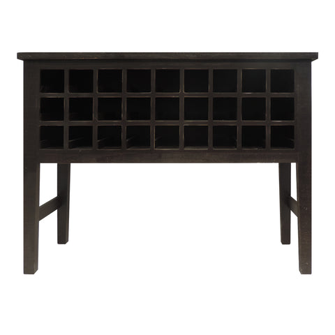 Rectangular Wooden Side Accent Table with Multiple Storage Slots, Brown