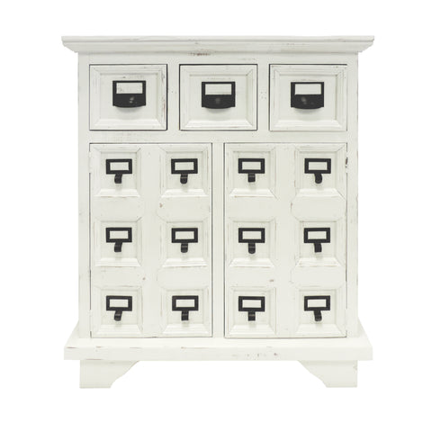 3 Drawer Cottage Style Wooden Cabinet with 2 Door Storage, Antique White and Black