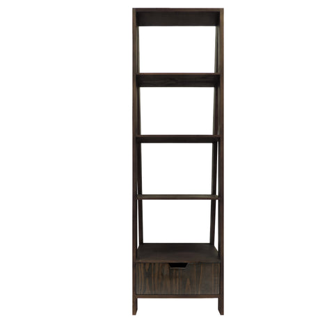 4 Shelf Wooden Ladder Bookcase with Bottom Drawer, Distressed Brown