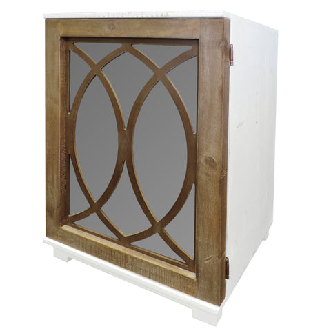 Wooden Side Table with Lattice Pattern Mirrored Door Cabinet, White and Brown