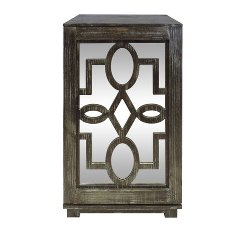 Handmade Wooden Side Table with Fretwork Mirrored Door Cabinet, Brown and Clear