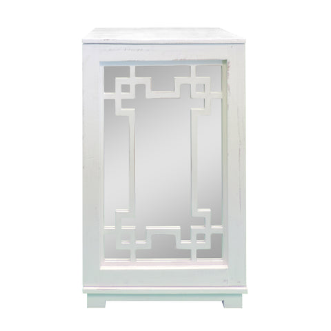 Geometric Pattern Wooden Side Table with Mirrored Door Cabinet, White and Clear