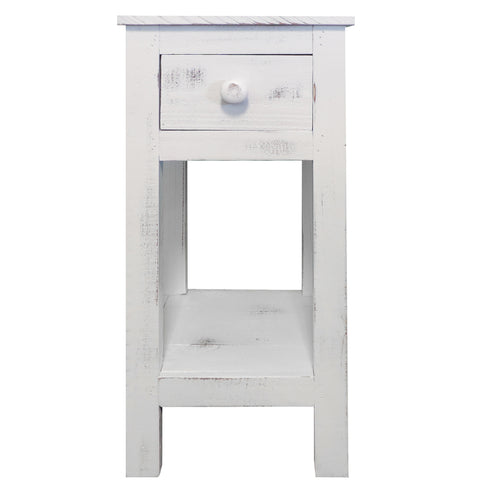Rough Sawn Textured Wooden Side Accent Table With Drawer, Antique White