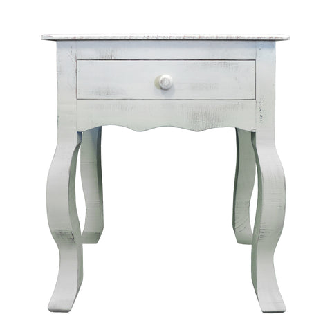 Rustic Wooden Side Accent Table with Cabriole Leg Support, White