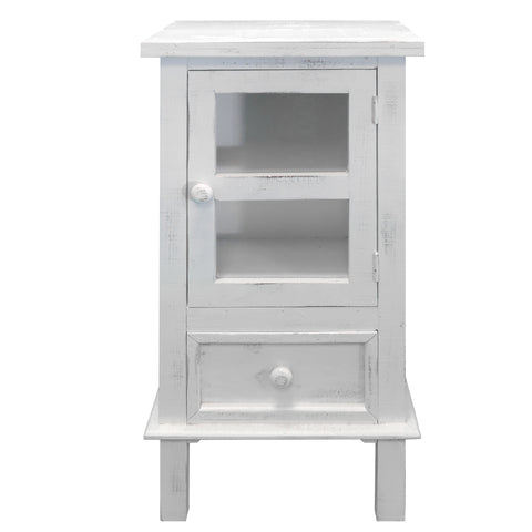 Single Door Wooden Side Accent Table with Drawer Storage, White