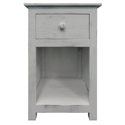 Single Drawer Wooden Side Accent Table with Open Bottom Shelf, White
