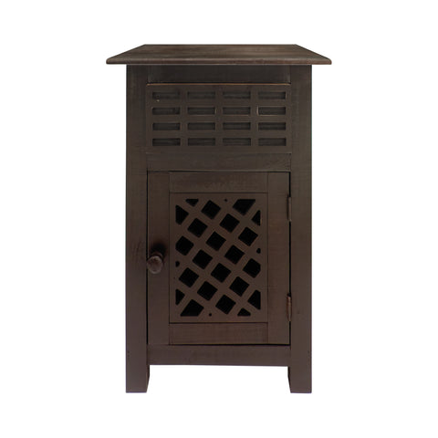 Single Drawer Wooden Side Accent Table with Door Cabinet, Rustic Brown