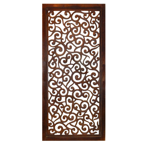 Rectangular Mango Wood Wall Panel with Cutout Scrollwork Details, Brown