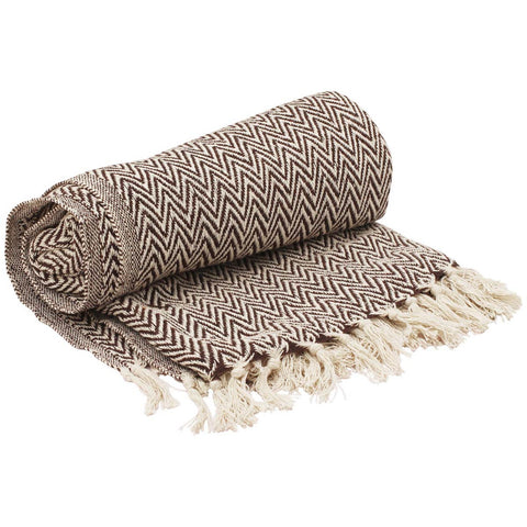 Benzara Soft Knitted Cotton Throw Blanket With Tassels, Brown And White