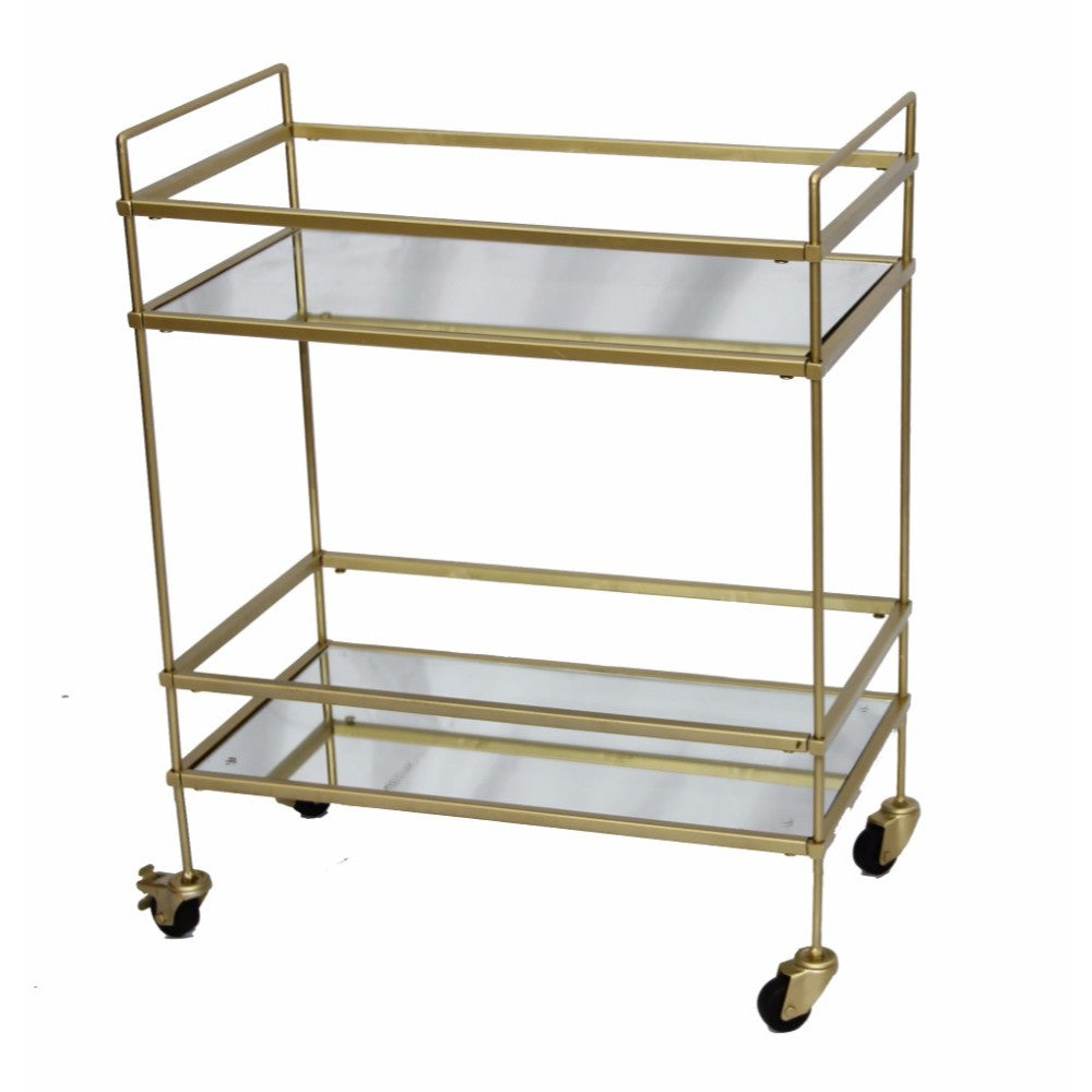 The Urban Port Bar Wine Tea Serving Cart With 2 Tempered Glass Shelves, Gold