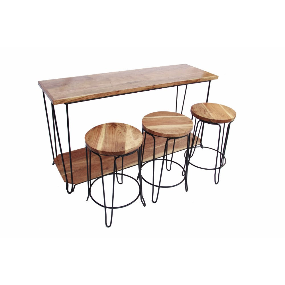 Rectangular Bar Dining Table With 3 Round Stools, Pack Of 4, Brown and Black
